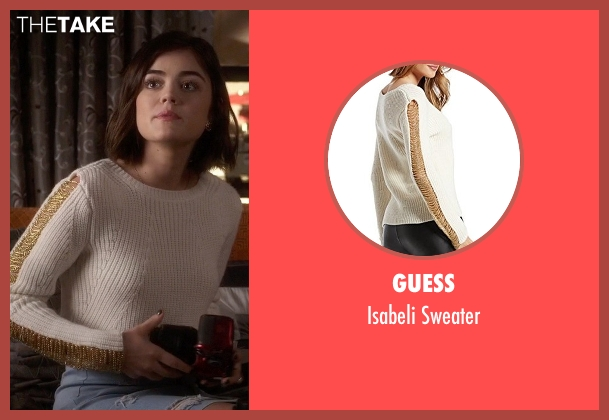 Guess white sweater from Pretty Little Liars seen with Aria Montgomery (Lucy Hale)
