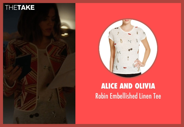 Alice and Olivia white tee from Pretty Little Liars seen with Aria Montgomery (Lucy Hale)