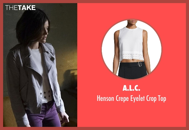 A.L.C. white top from Pretty Little Liars seen with Aria Montgomery (Lucy Hale)