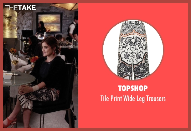 Topshop white trousers from Pretty Little Liars seen with Aria Montgomery (Lucy Hale)