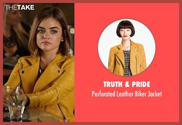 Truth & Pride yellow jacket from Pretty Little Liars seen with Aria Montgomery (Lucy Hale)