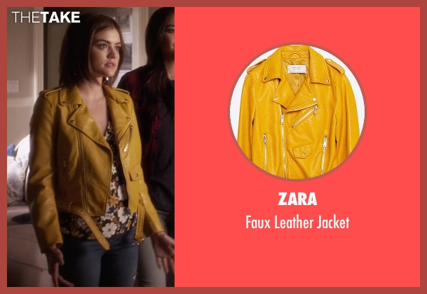 Zara yellow jacket from Pretty Little Liars seen with Aria Montgomery (Lucy Hale)