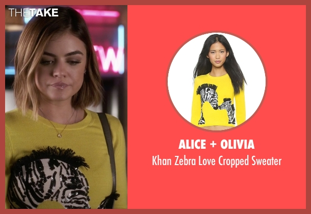 Alice + Olivia yellow sweater from Pretty Little Liars seen with Aria Montgomery (Lucy Hale)