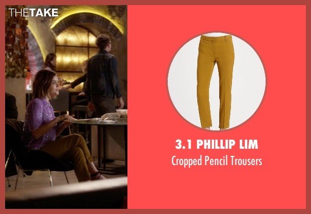 3.1 Phillip Lim yellow trousers from Pretty Little Liars seen with Aria Montgomery (Lucy Hale)