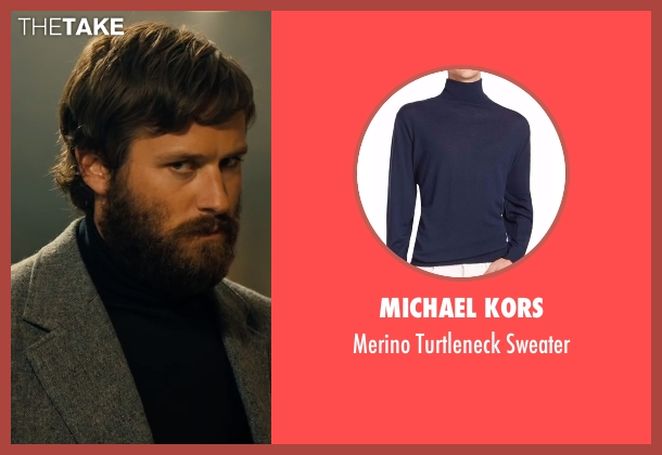 Michael Kors blue sweater from Free Fire seen with Armie Hammer (Ord)
