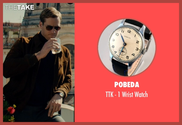 Pobeda black watch from The Man from U.N.C.L.E. seen with Armie Hammer (Illya Kuryakin)