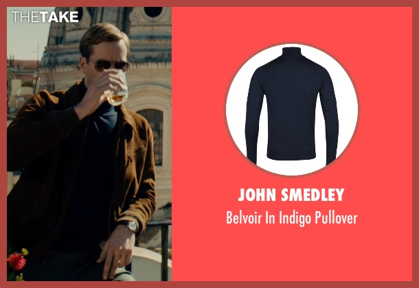 John Smedley blue pullover from The Man from U.N.C.L.E. seen with Armie Hammer (Illya Kuryakin)