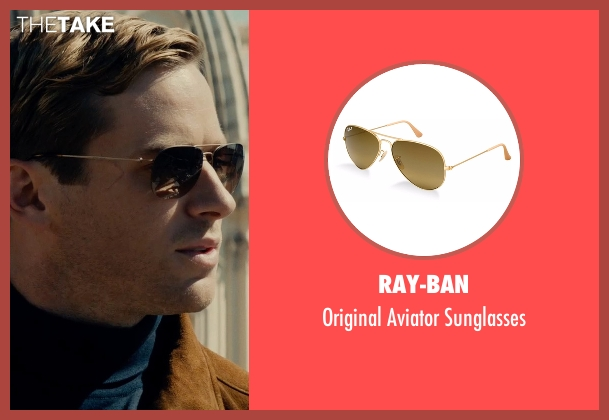 Ray-Ban brown sunglasses from The Man from U.N.C.L.E. seen with Armie Hammer (Illya Kuryakin)