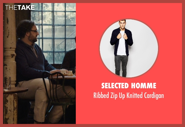Selected Homme blue cardigan from Master of None seen with Arnold  (Eric Wareheim)