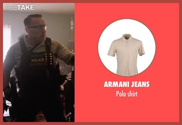 ARMANI JEANS beige shirt from Sabotage seen with Arnold Schwarzenegger (John 'Breacher' Wharton)