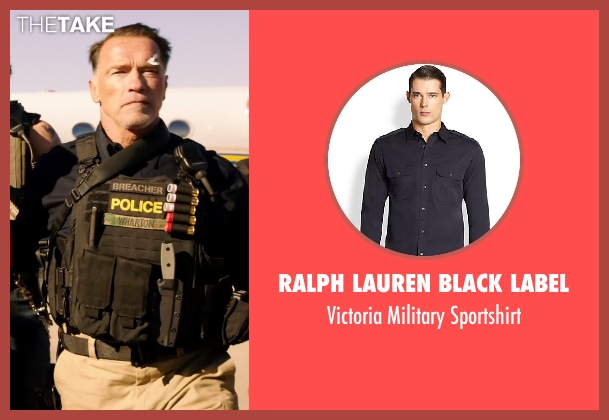 Ralph Lauren Black Label black sportshirt from Sabotage seen with Arnold Schwarzenegger (John 'Breacher' Wharton)