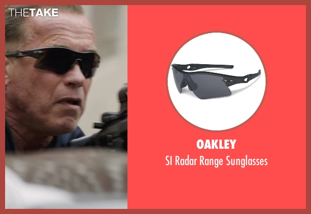Oakley black sunglasses from Sabotage seen with Arnold Schwarzenegger (John 'Breacher' Wharton)