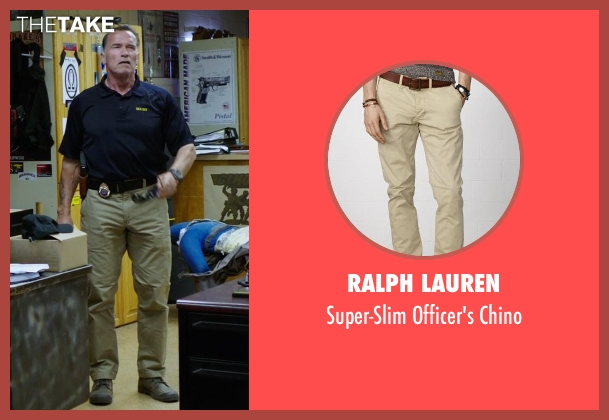 Ralph Lauren brown chino from Sabotage seen with Arnold Schwarzenegger (John 'Breacher' Wharton)