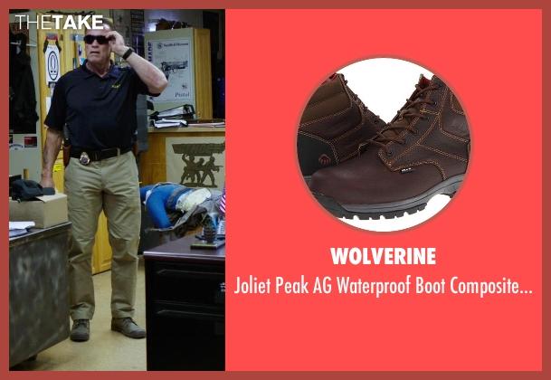Wolverine brown toe from Sabotage seen with Arnold Schwarzenegger (John 'Breacher' Wharton)