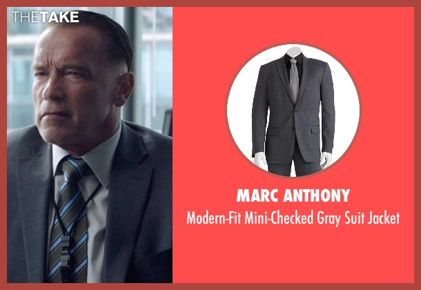 Marc Anthony gray jacket from Sabotage seen with Arnold Schwarzenegger (John 'Breacher' Wharton)