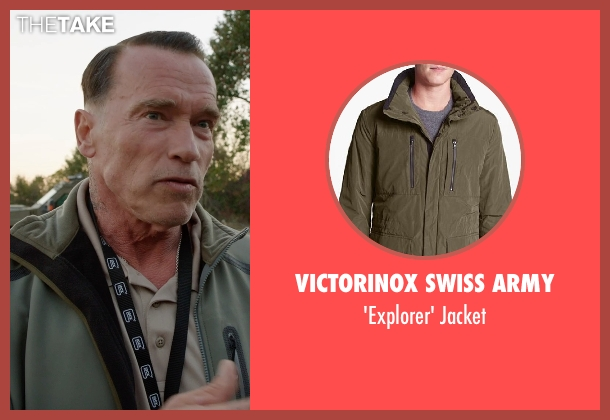 Victorinox Swiss Army green jacket from Sabotage seen with Arnold Schwarzenegger (John 'Breacher' Wharton)