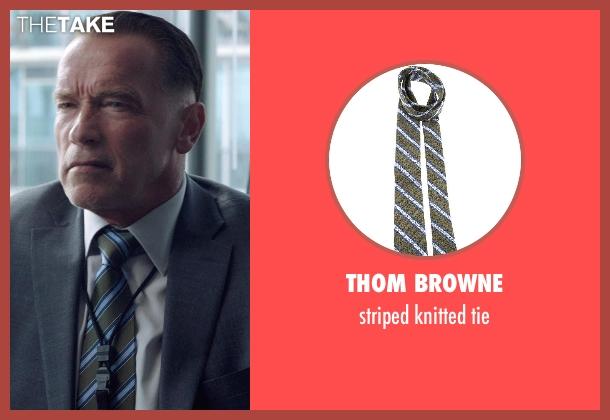 THOM BROWNE green tie from Sabotage seen with Arnold Schwarzenegger (John 'Breacher' Wharton)