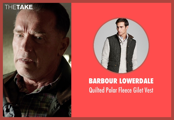 Barbour Lowerdale green vest from Sabotage seen with Arnold Schwarzenegger (John 'Breacher' Wharton)