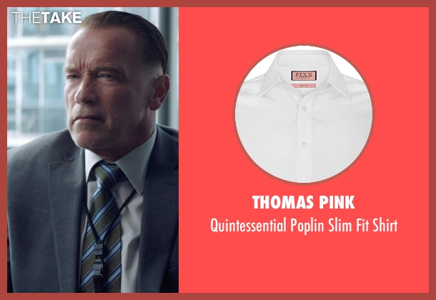Thomas Pink white shirt from Sabotage seen with Arnold Schwarzenegger (John 'Breacher' Wharton)