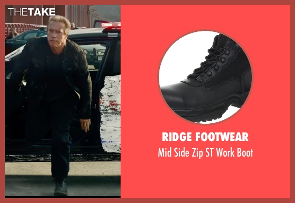 Ridge Footwear black boot from Terminator: Genisys seen with Arnold Schwarzenegger (Terminator)