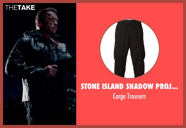 Stone Island Shadow Project black trousers from Terminator: Genisys seen with Arnold Schwarzenegger (Terminator)