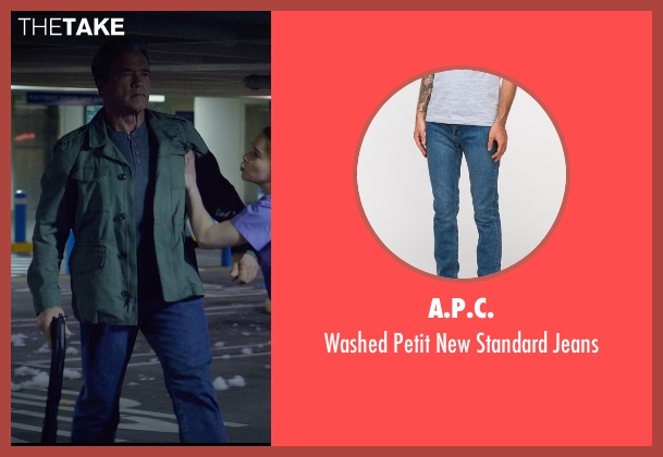 A.P.C. blue jeans from Terminator: Genisys seen with Arnold Schwarzenegger (Terminator)