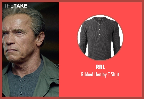 RRL gray t-shirt from Terminator: Genisys seen with Arnold Schwarzenegger (Terminator)