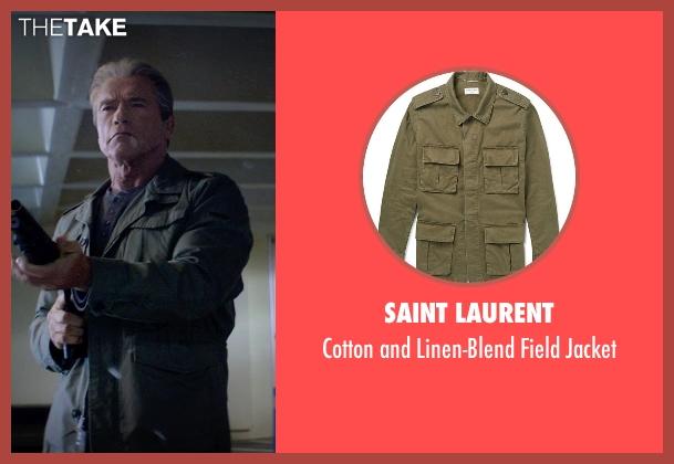 Saint Laurent green jacket from Terminator: Genisys seen with Arnold Schwarzenegger (Terminator)