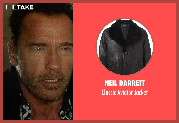 Neil Barrett black jacket from The Expendables 3 seen with Arnold Schwarzenegger (Trench)