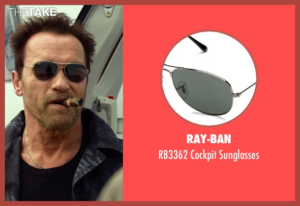 Ray-Ban black sunglasses from The Expendables 3 seen with Arnold Schwarzenegger (Trench)