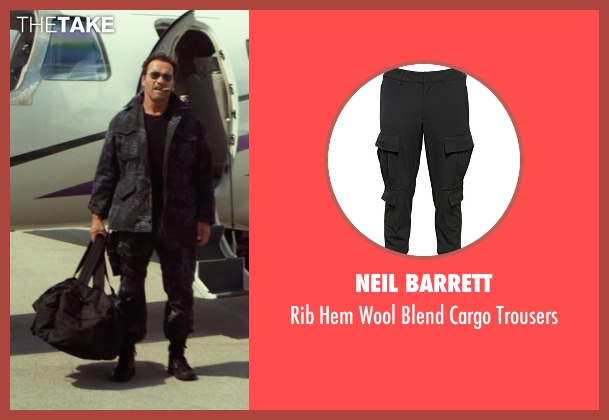 Neil Barrett black trousers from The Expendables 3 seen with Arnold Schwarzenegger (Trench)