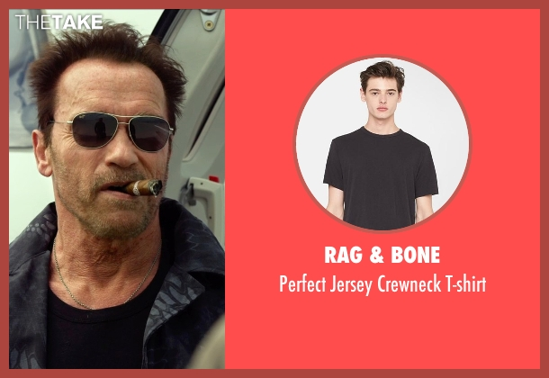 Rag & Bone black t-shirt from The Expendables 3 seen with Arnold Schwarzenegger (Trench)