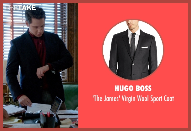 Hugo Boss black coat from How To Get Away With Murder seen with Asher Millstone (Matt McGorry)