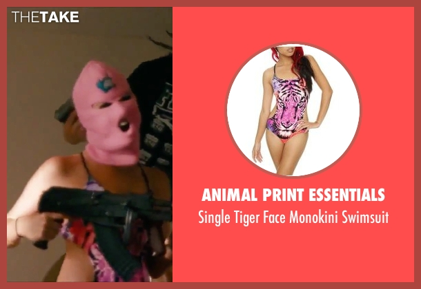 Animal Print Essentials pink swimsuit from Spring Breakers seen with Ashley Benson (Brit)