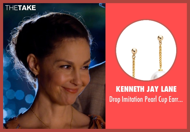 Kenneth Jay Lane white earrings from Dolphin Tale 2 seen with Ashley Judd (Lorraine Nelson)