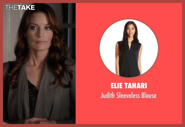 Elie Tahari black blouse from Pretty Little Liars seen with Ashley Marin  (Laura Leighton)