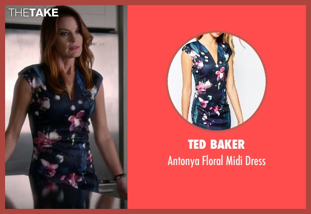 Ted Baker blue dress from Pretty Little Liars seen with Ashley Marin  (Laura Leighton)