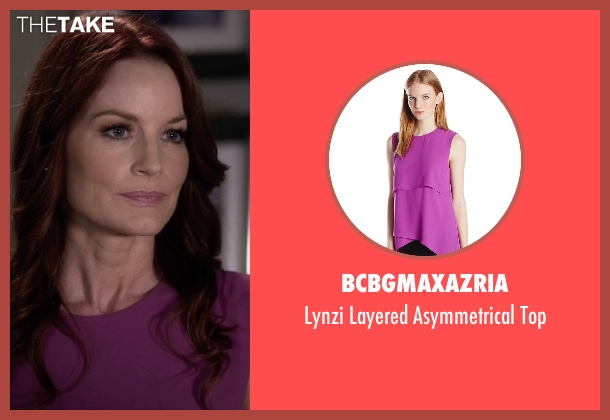 BCBGMAXAZRIA purple top from Pretty Little Liars seen with Ashley Marin  (Laura Leighton)