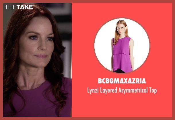 BCBGMAXAZRIA purple top from Pretty Little Liars seen with Ashley Marin  (Laura Leighton)