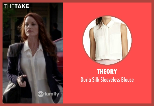Theory white blouse from Pretty Little Liars seen with Ashley Marin  (Laura Leighton)