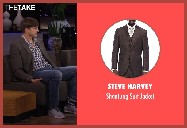 Steve Harvey brown jacket from Chelsea seen with Ashton Kutcher