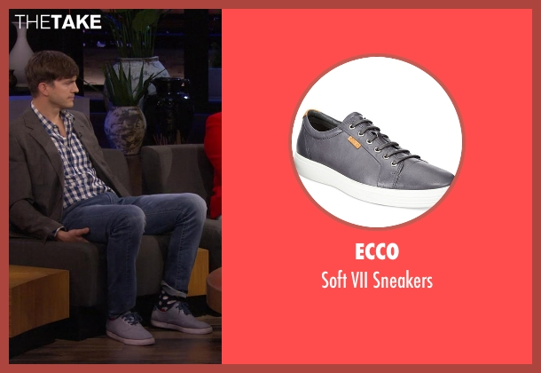 Ecco gray sneakers from Chelsea seen with Ashton Kutcher