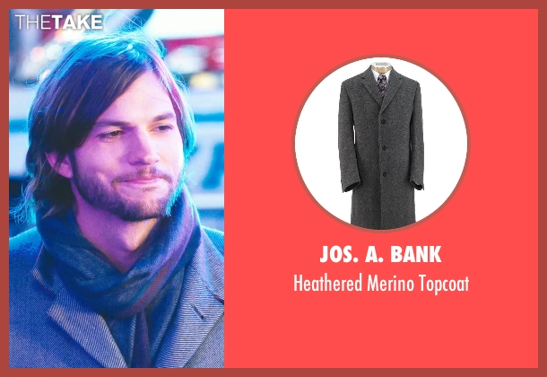 Jos. A. Bank gray topcoat from New Year's Eve seen with Ashton Kutcher (Randy)