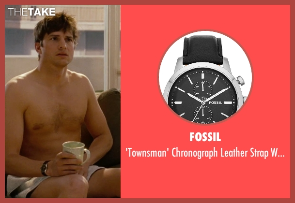 Fossil black watch from No Strings Attached seen with Ashton Kutcher (Adam Franklin)