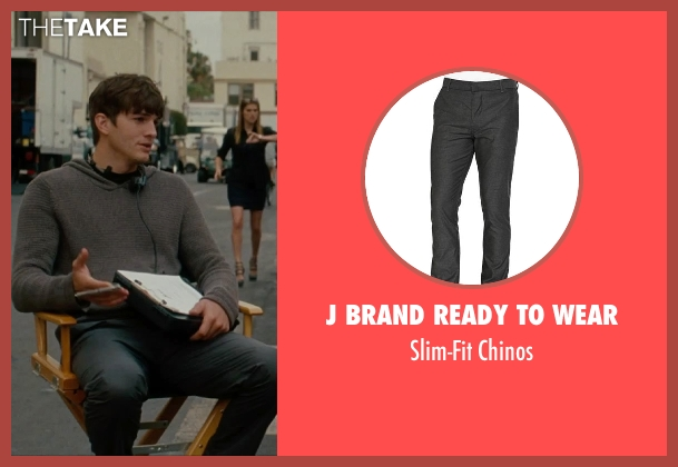 J Brand Ready to Wear gray chinos from No Strings Attached seen with Ashton Kutcher (Adam Franklin)