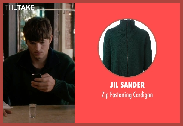 Jil Sander green cardigan from No Strings Attached seen with Ashton Kutcher (Adam Franklin)