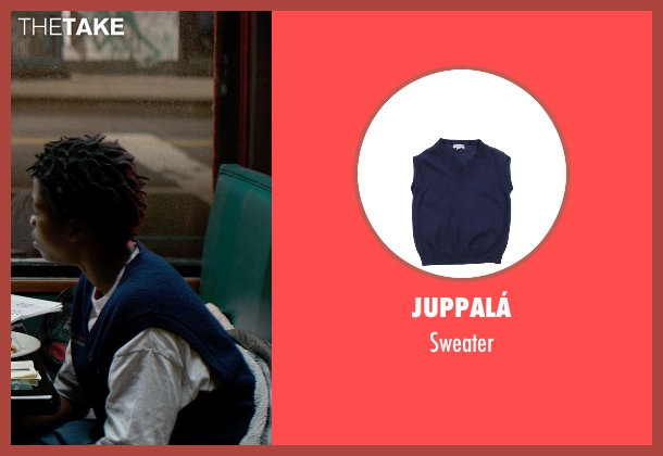 Juppalá blue sweater from A Walk Among The Tombstones seen with Astro (TJ)
