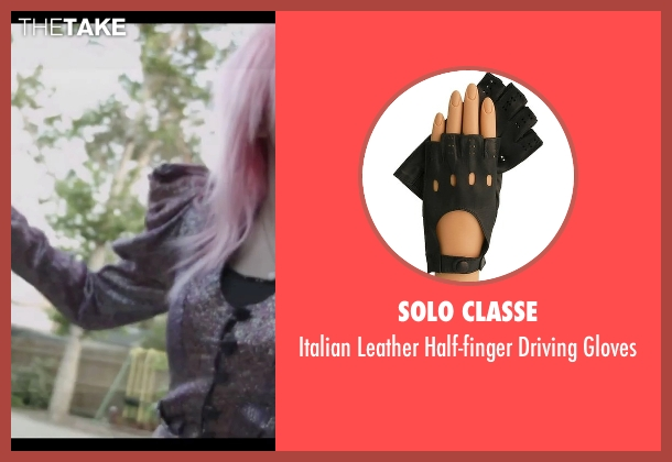 Solo Classe black gloves from Jem and the Holograms seen with Aubrey Peeples (Jem)