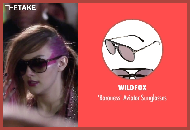 Wildfox black sunglasses from Jem and the Holograms seen with Aubrey Peeples (Jem)
