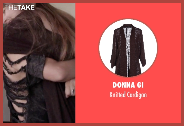 Donna Gi brown cardigan from Jem and the Holograms seen with Aubrey Peeples (Jem)